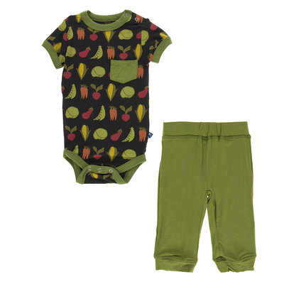 KICKEE PANTS Kickee Pants Zebra Garden Veggie Stripe Short Sleeve Pocket One Piece and Pant Outfit Set
