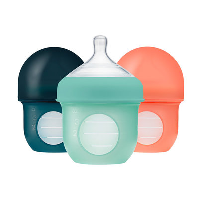 BOON, INC. Boon NURSH 4oz 3 Pack Silicone Bottle - Mint