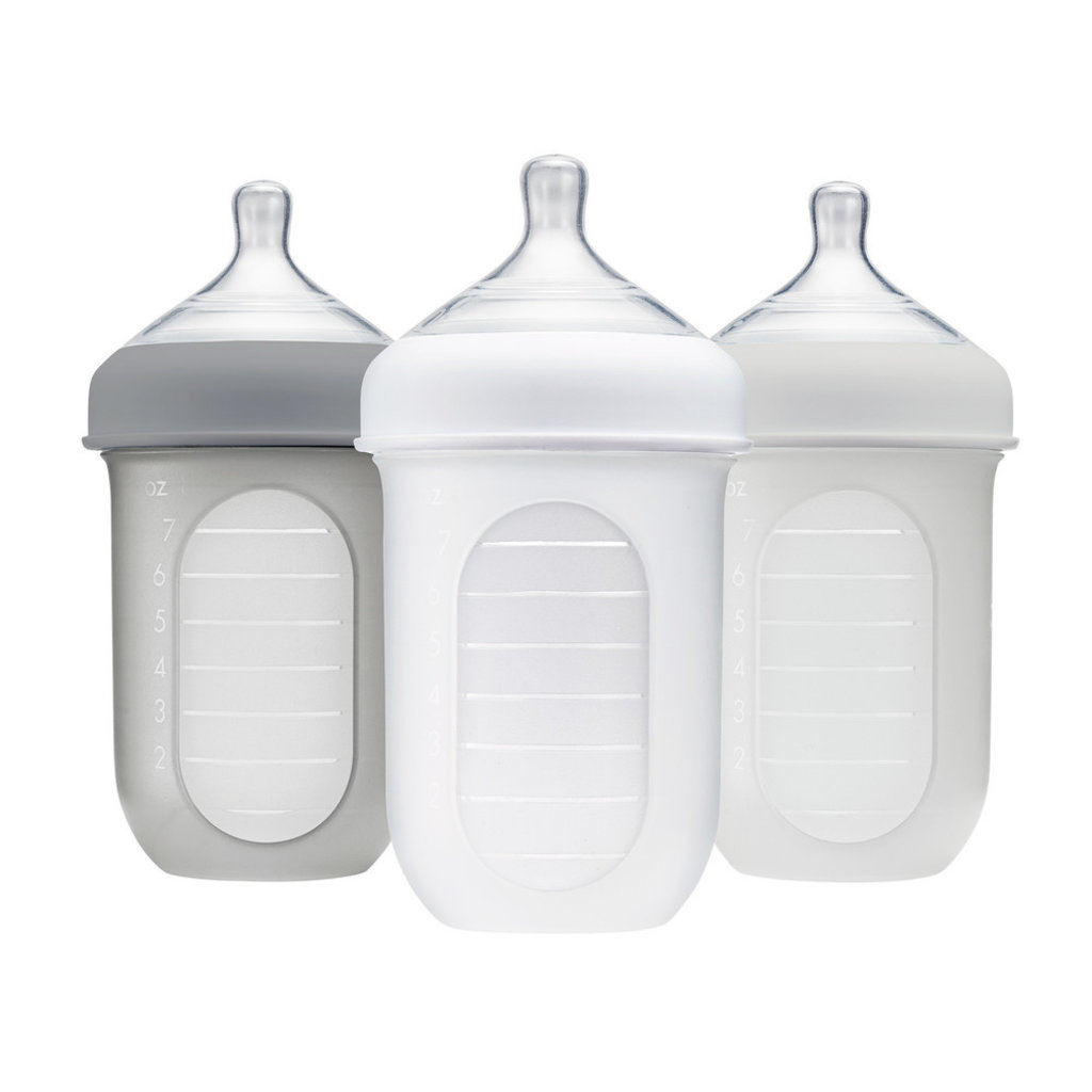 BOON, INC. Boon NURSH 8oz 3 Pack Silicone Bottle - Gray