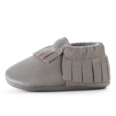 Slate Leather Baby Moccasins