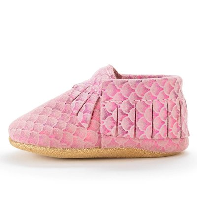 Pink Mermaid Genuine Leather Baby Moccasins