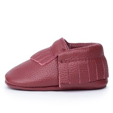 Merlot Leather Baby Moccasins
