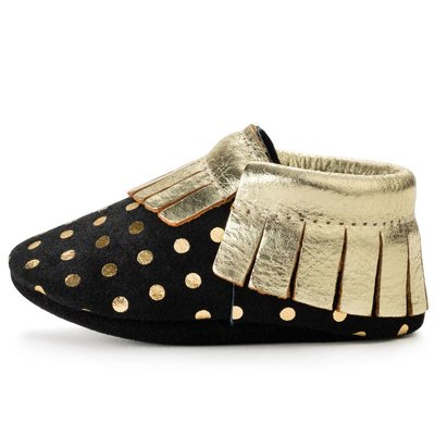Black and Gold Leather Baby Moccasins