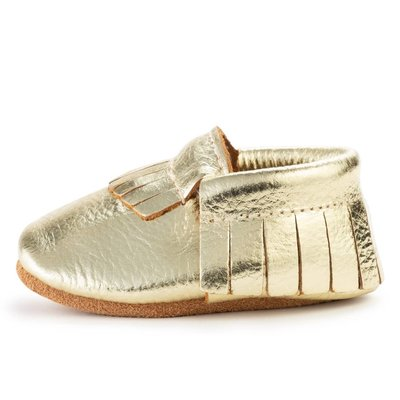 Gold Genuine Leather Baby Moccasins