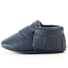 Navy Leather Baby Moccasins