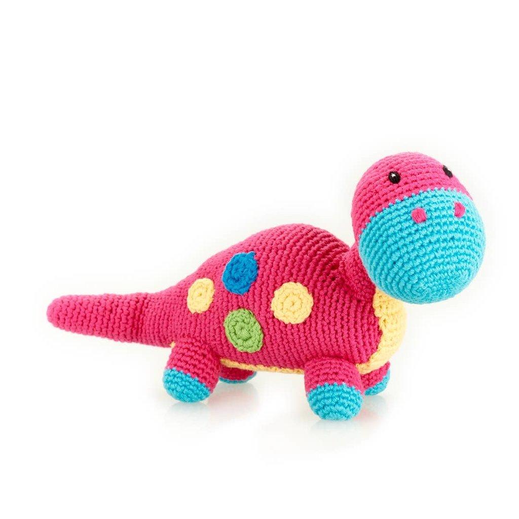 Pebble Pebble Dino Rattle Dippi Pink