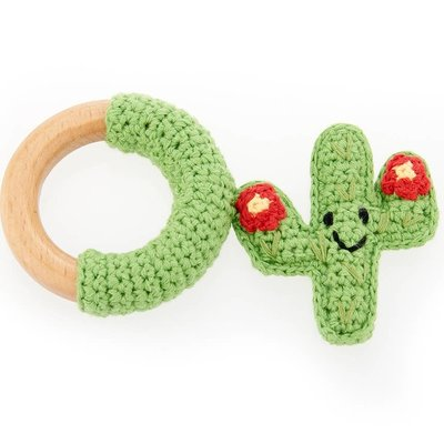 Pebble Pebble Cactus Wooden Ring - Red Flower