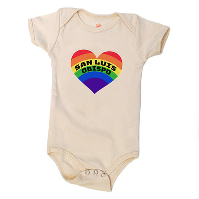 orangeheat Organic Cotton Rainbow Heart SLO Onesie