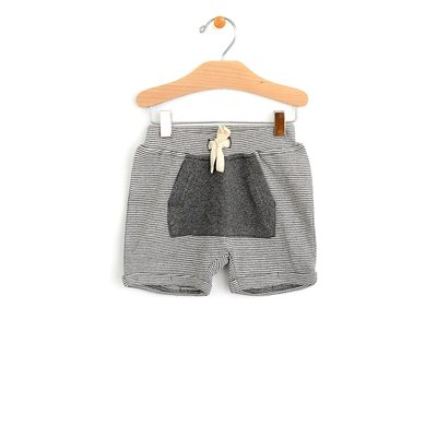 City Mouse Organic Cotton Kangaroo Pocket Short - Dark Melange Stripe
