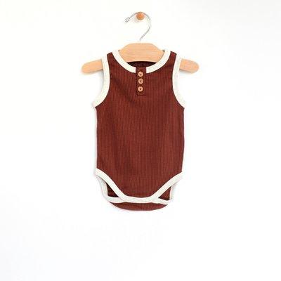 City Mouse Organic Cotton Rib Henley Bodysuit - Rust