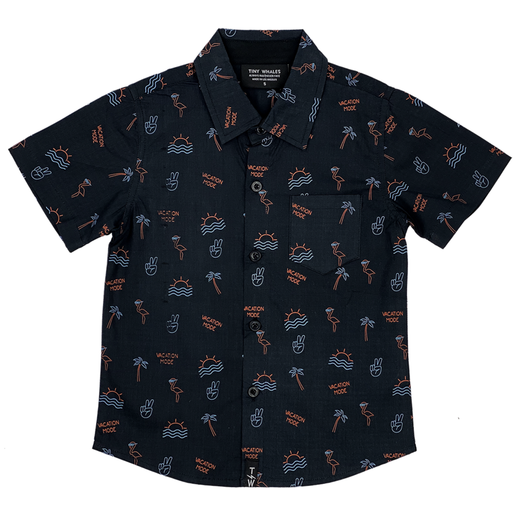 Tiny Whales Vacation Mode Button Up