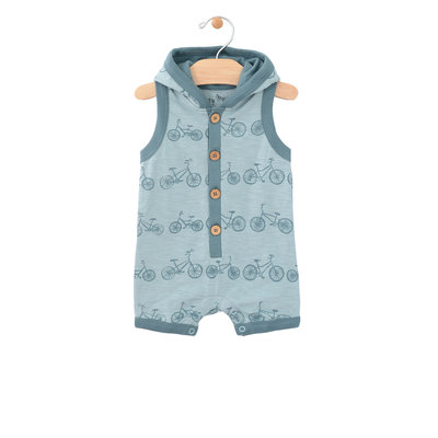 City Mouse Organic Cotton Hooded Racerback Romper - Bikes