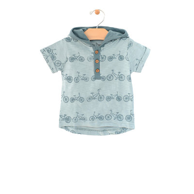 City Mouse Organic Cotton Hooded Henley Tee - Bikes