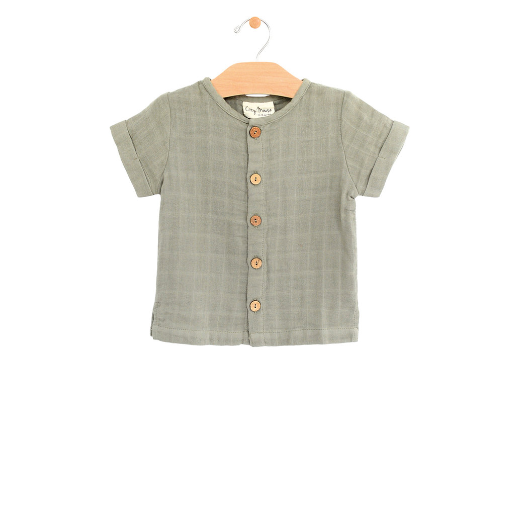 City Mouse Organic Cotton Muslin Button Down Tee - Sage