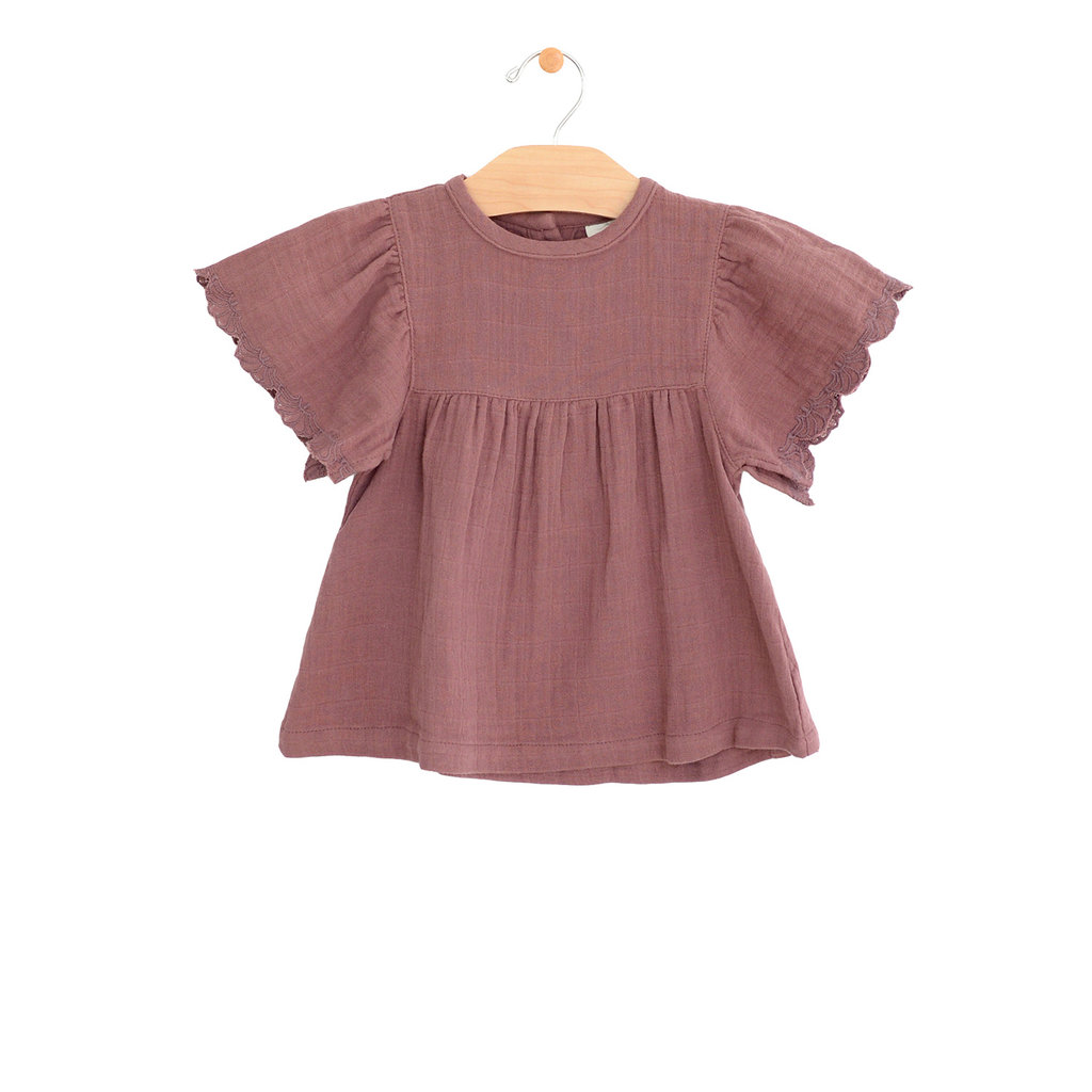 City Mouse Organic Cotton Muslin Embossed Sleeve Top - Rosewood