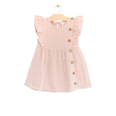 City Mouse Organic Cotton Muslin Side Flutter Button Dress - Soft Rose