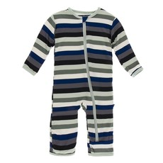 KICKEE PANTS Zoology Stripe Zipper Coverall