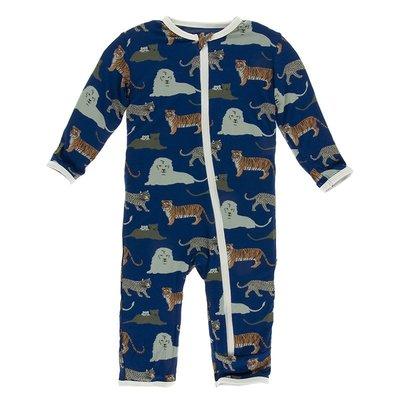 KICKEE PANTS Flag Blue Big Cats Zipper Coverall