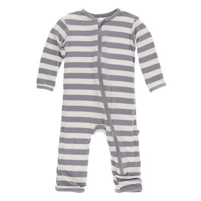 KICKEE PANTS Feather Contrast Stripe Zipper Coverall