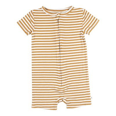 Brave Little Ones Stripe Ribbed Summer Zip Romper