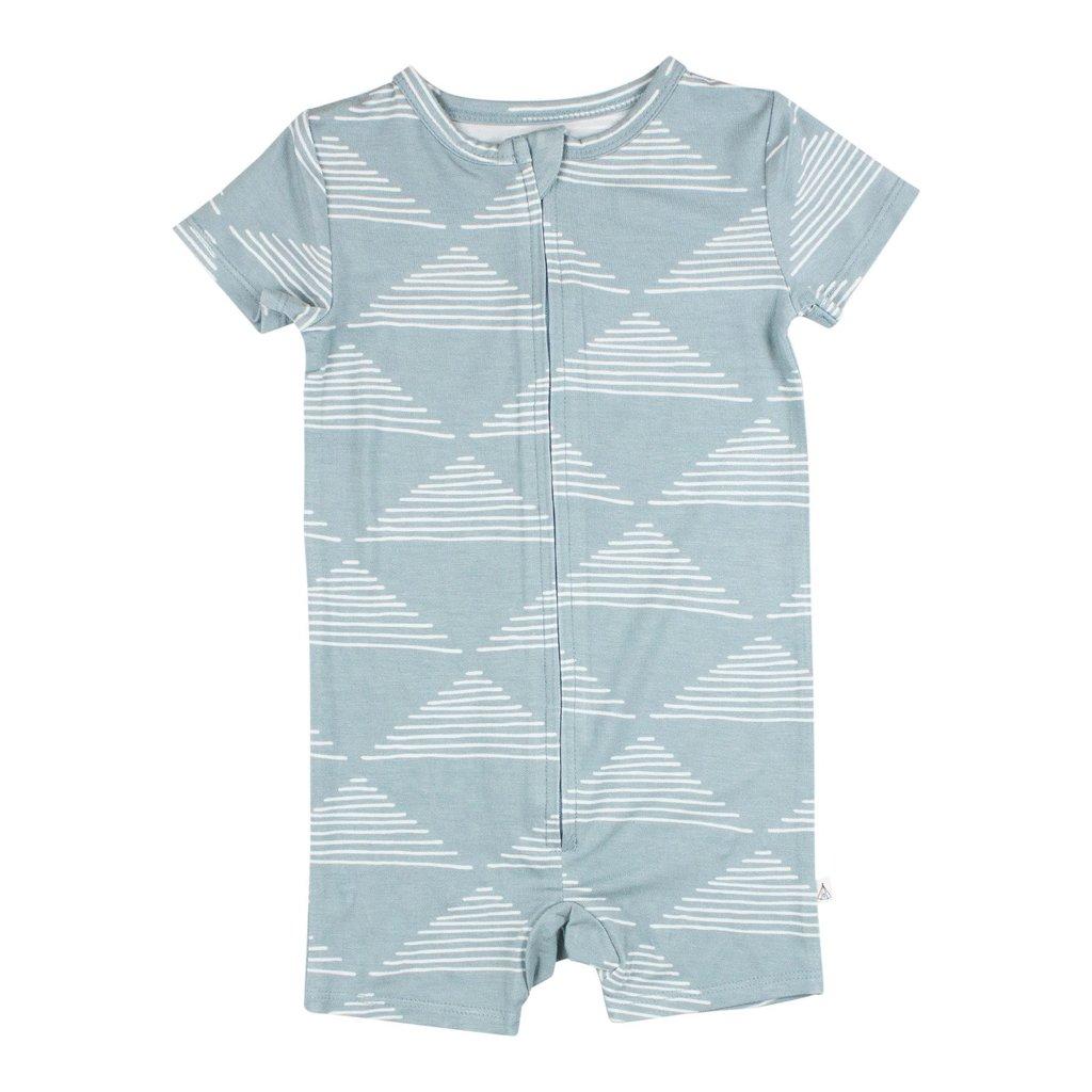 Brave Little Ones Blue Triangles Summer Zip Romper