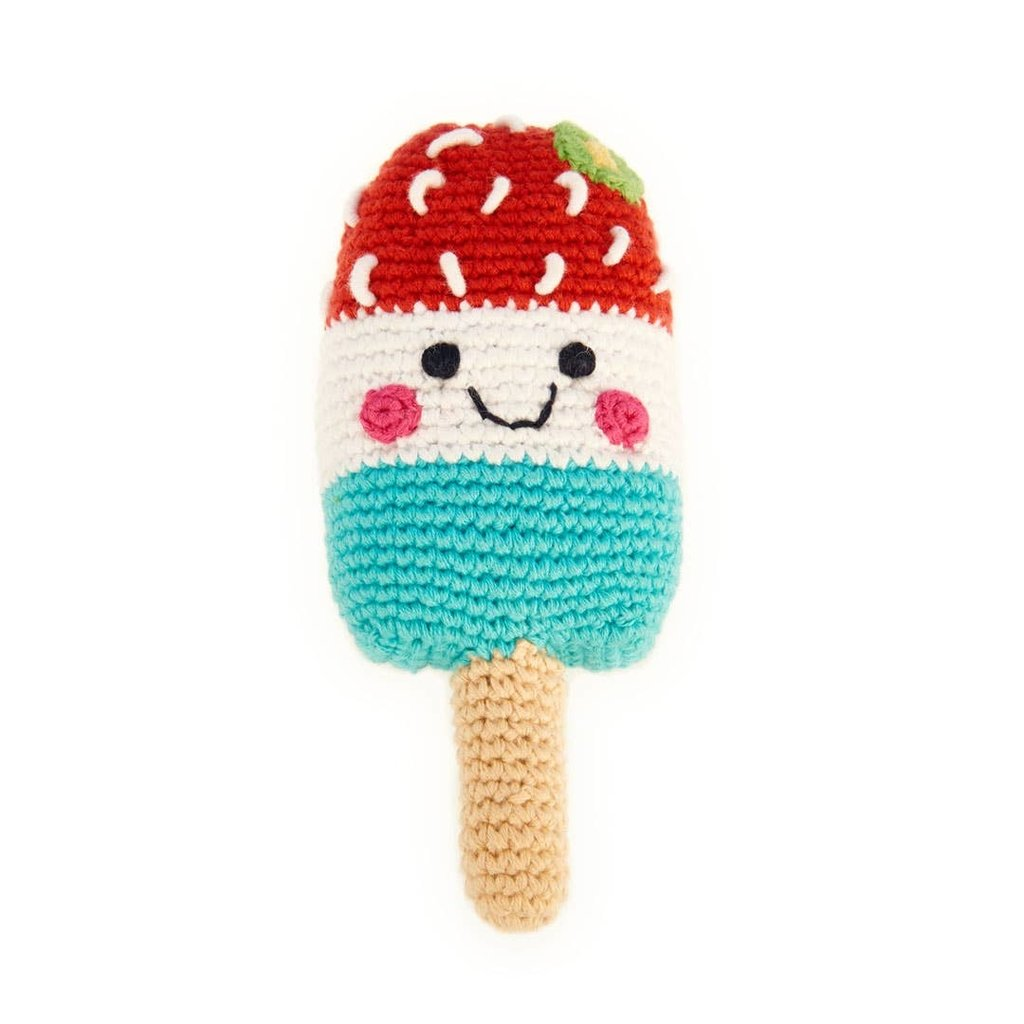 Pebble Red with White and Blue Friendly Ice Lolly