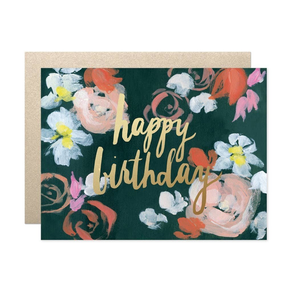 Our Heiday Coral Florals Happy Birthday Card