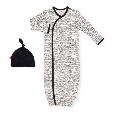MAGNETIC ME Going Places Organic Cotton Magnetic Gown + Hat Set