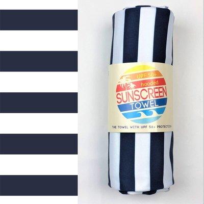 LUV BUG CO Hooded Upf 50+ Sunscreen Towel: Navy Stripes
