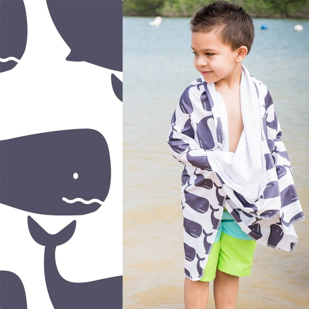 LUV BUG CO Hooded Upf 50+ Sunscreen Towel: Whales