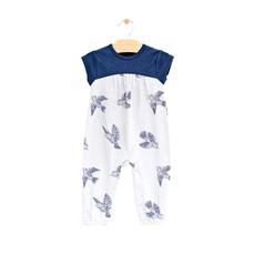 City Mouse Organic Cotton Long Romper - Bluebirds