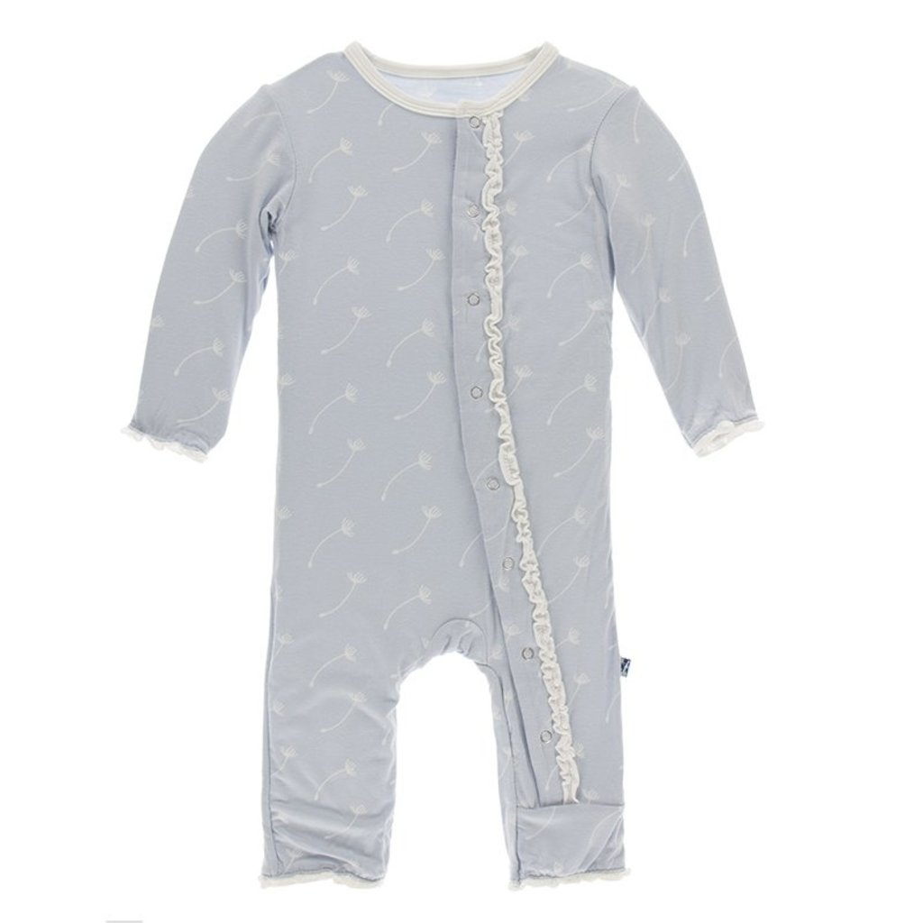 KICKEE PANTS Dew Dandelion Seeds Muffin Ruffle Zipper Coverall