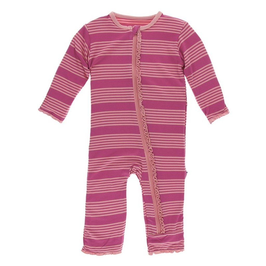 KICKEE PANTS Calypso Agriculture Stripe Muffin Ruffle Zipper Coverall