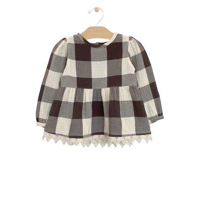 City Mouse Organic Cotton Lace Hem Tunic - Buffalo Check