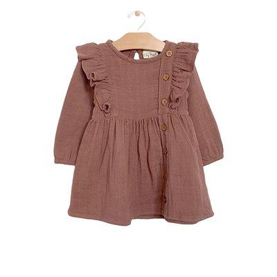 City Mouse Organic Cotton Muslin Placket Dress - Rosewood