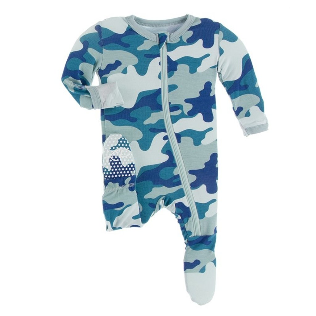 KICKEE PANTS Oasis Military Footie with Zipper