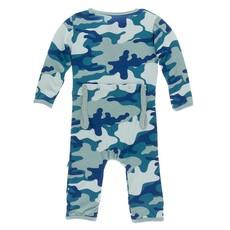 KICKEE PANTS Oasis Military Zipper Coverall