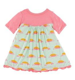 KICKEE PANTS Apple Pie Blossom Short Sleeve Swing Dress