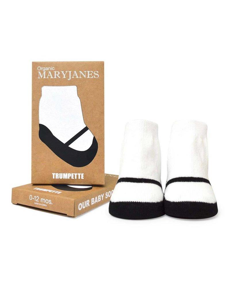 TRUMPETTE Organic Black Mary Jane Socks