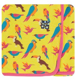 KICKEE PANTS Banana Tropical Birds Swaddling Blanket