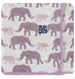 KICKEE PANTS Natural Elephants Swaddling Blanket