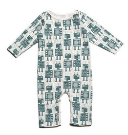 WINTER WATER FACTORY Long Sleeve Romper - Teal Robots