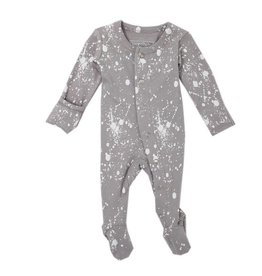 L'OVED BABY Organic Footed Overall - Light Gray Splatter