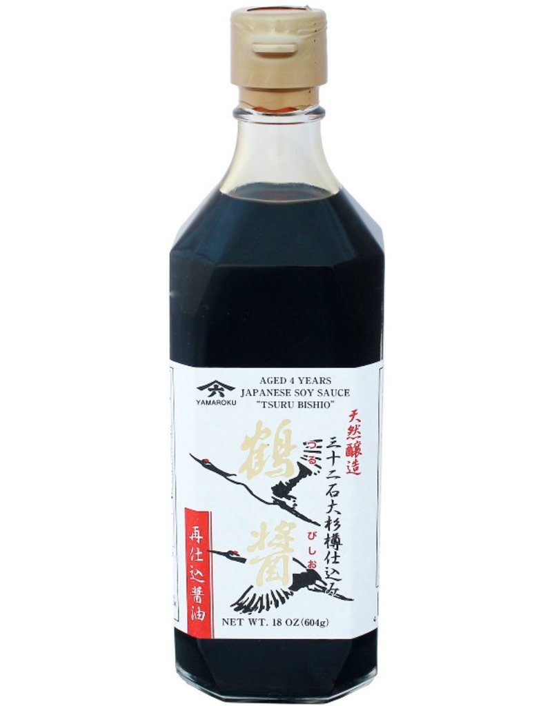 "Japanese Yamaroku Aged 4 Years Soy Sauce ""Tsuru Bisiho"" - 18 oz. (532ml)"