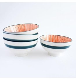 Caravan Caravan Urchin Orange/Navy Bowls - Set of 4