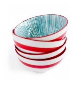 Caravan Caravan Urchin Turquoise/Red Bowls - Set of 4