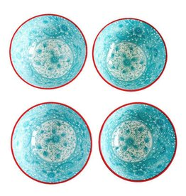 Caravan Caravan Floral Turquoise/Red Bowls - Set of 4