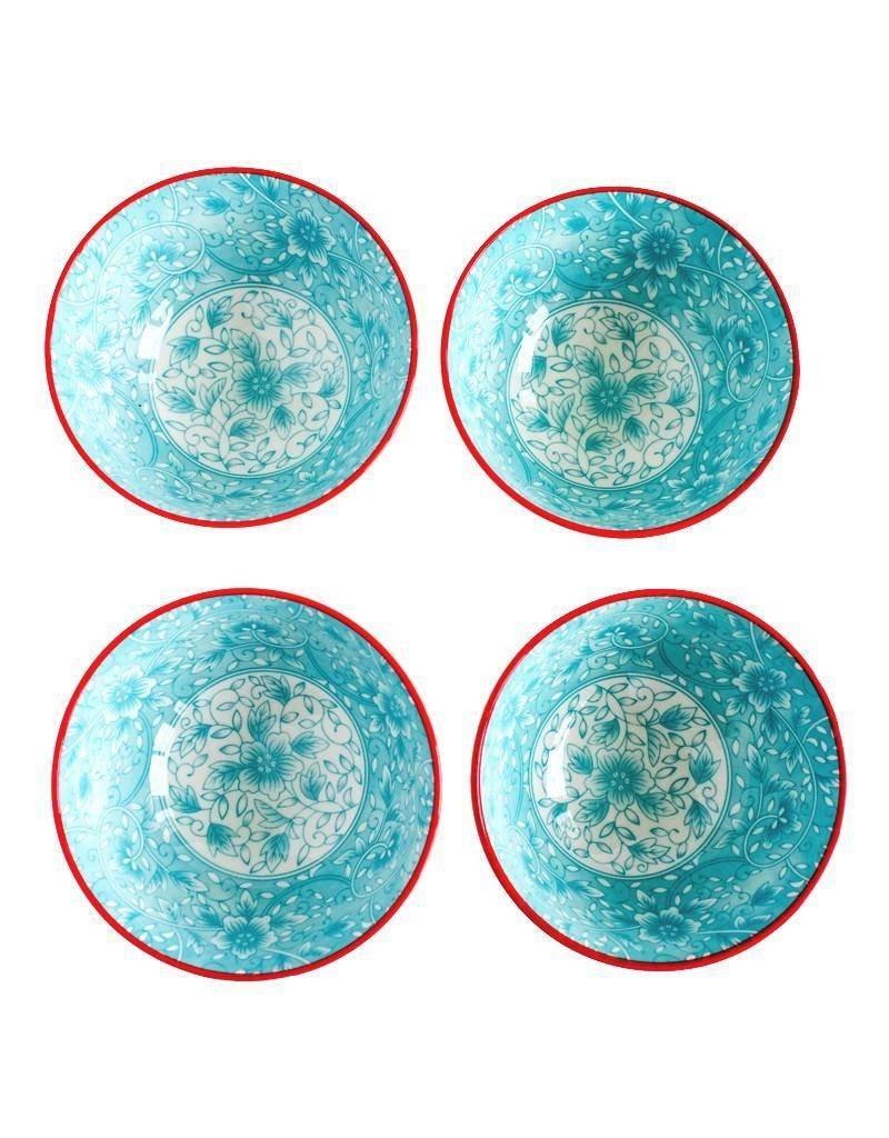 Caravan Caravan Floral Turquoise/Red Bowls - Set of 4