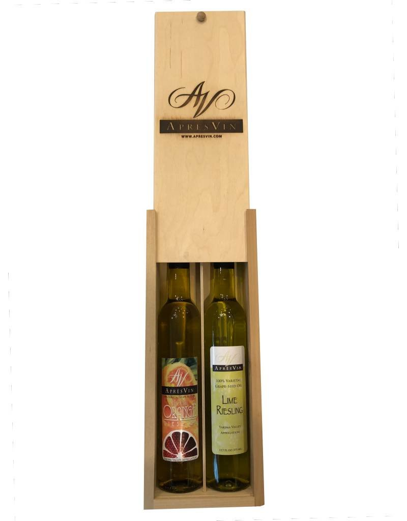 ApresVin Apres Vin Favorites Gift Pack in Wooden Box - Blood Orange Riesling and Lime Riesling Grape Seed Oils
