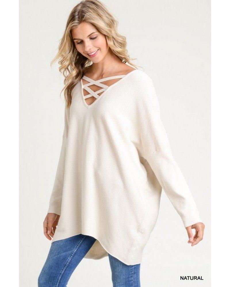Oversized Sweater - V-neck
